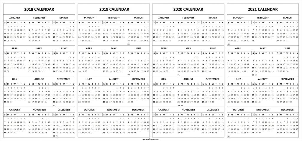 5 Yea Calender Calendar Template 2021