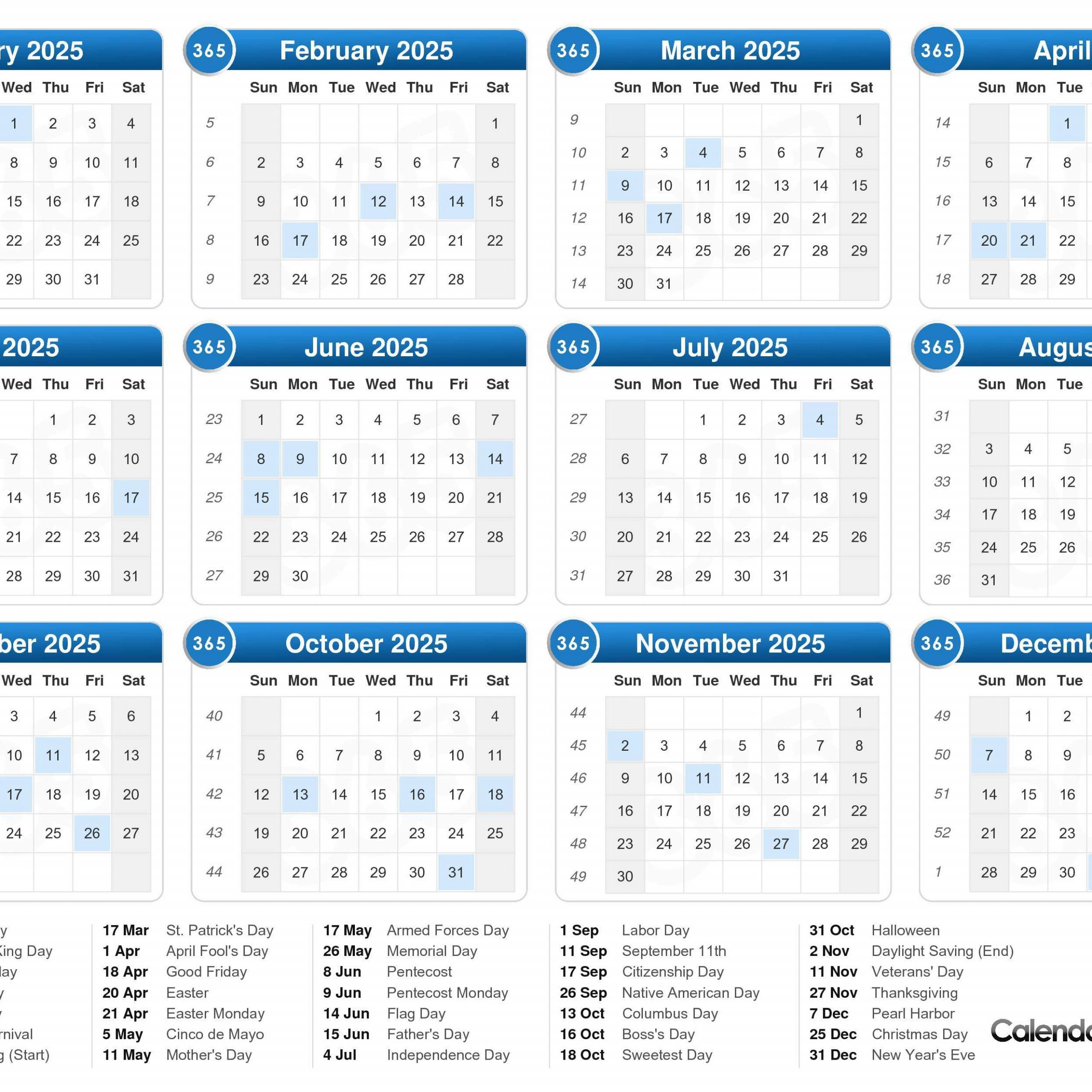 5 Year Calendar 2020 To 2025 Free Printable Calendar