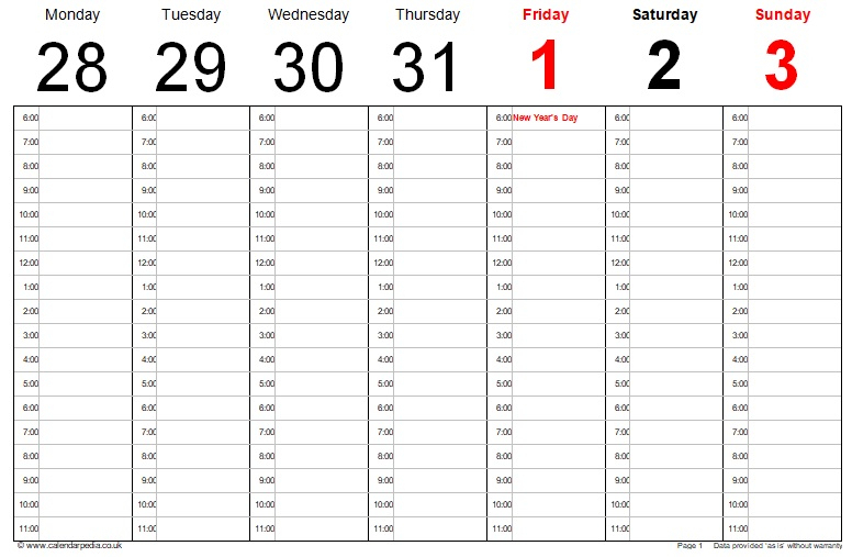 6 Download Free Printable Weekly Calendar Templates