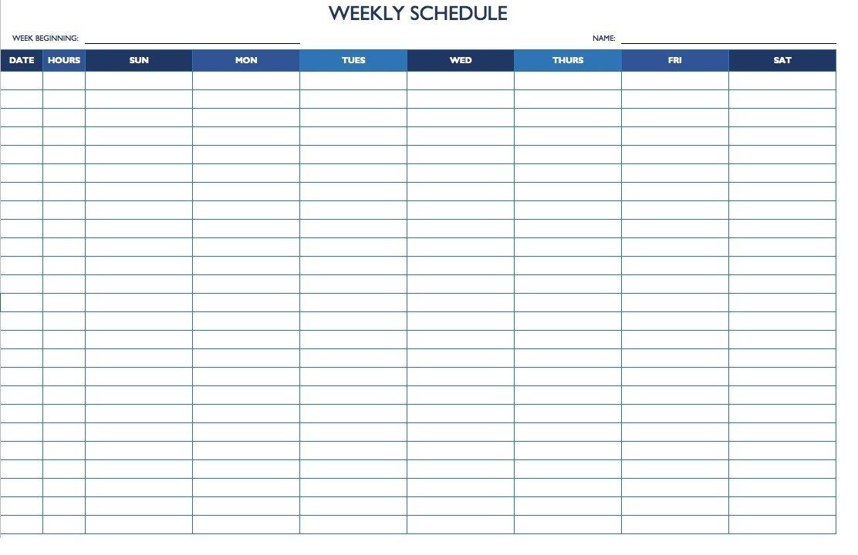 7 Day 24 Hour Calendar Template Daily Calendar Template