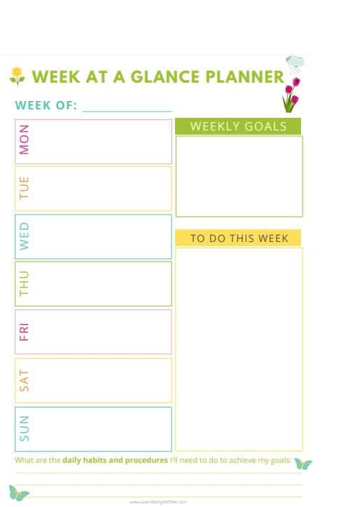 7 Super Helpful Week At A Glance Printable Templates Free