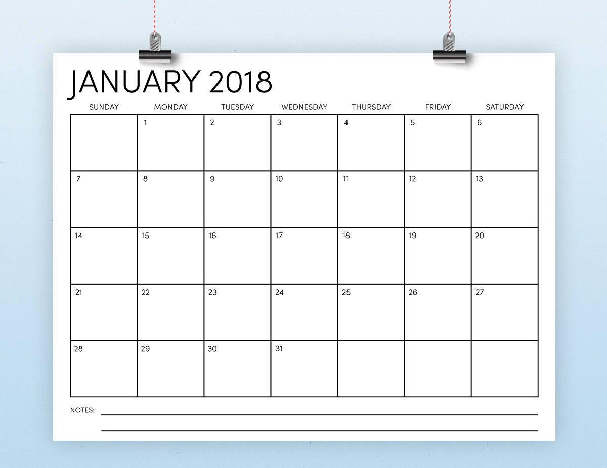 8 5 X 11 2018 Calendar Template Instant Download