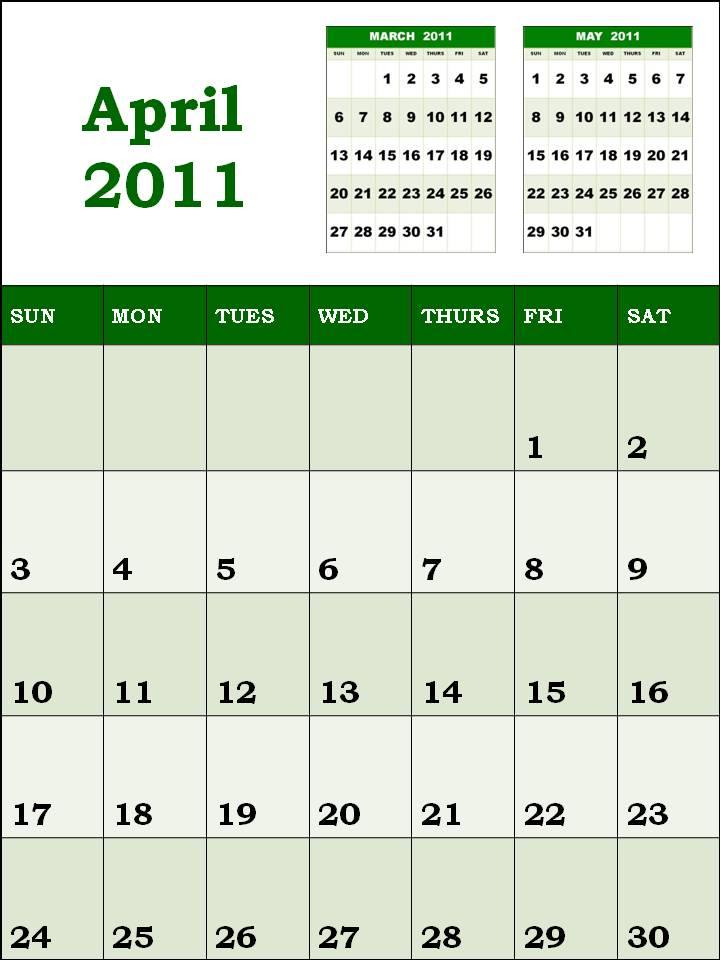 Alex Morgan Style Blank Calendar 2011 April