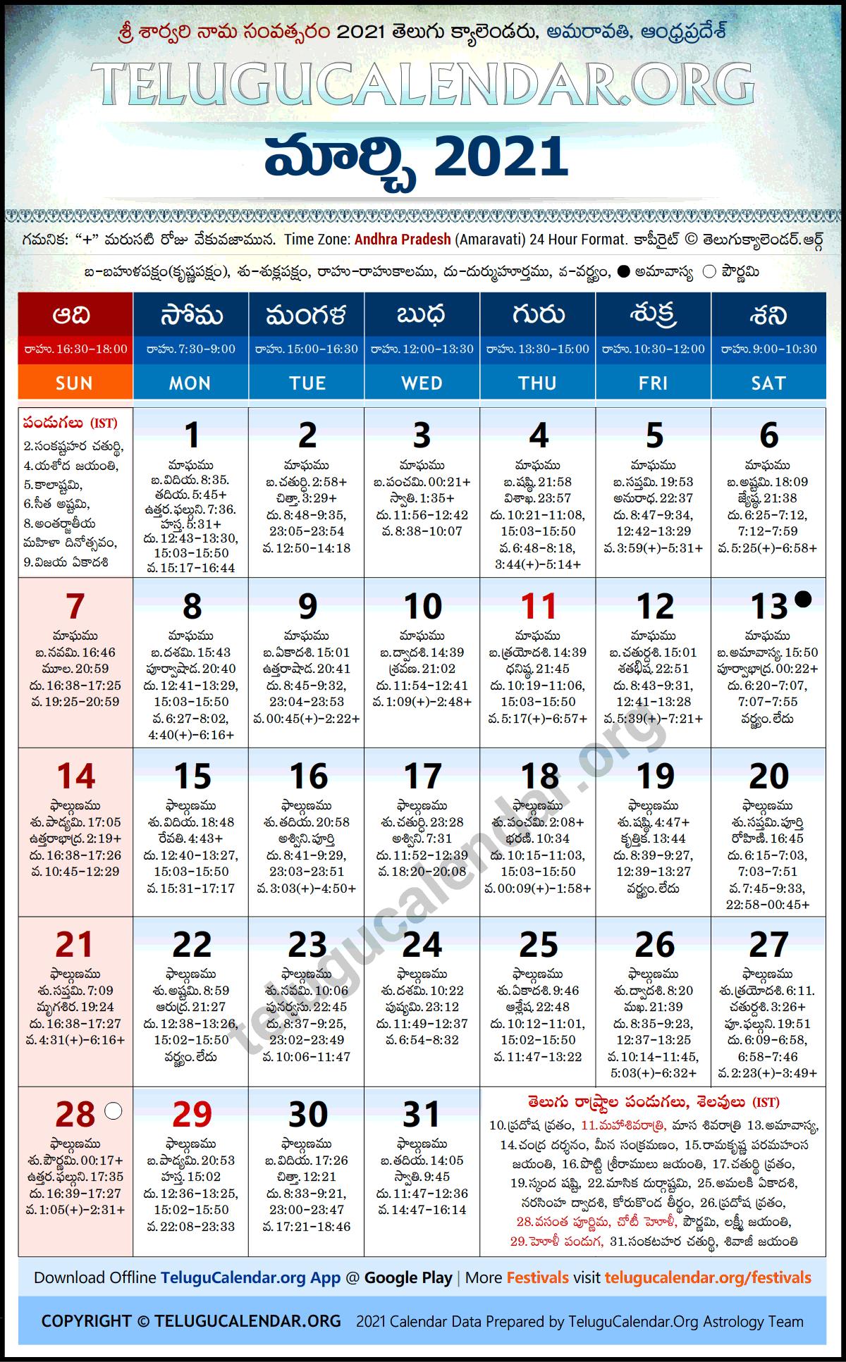 Andhra Pradesh 2021 March Telugu Calendar Festivals Holidays