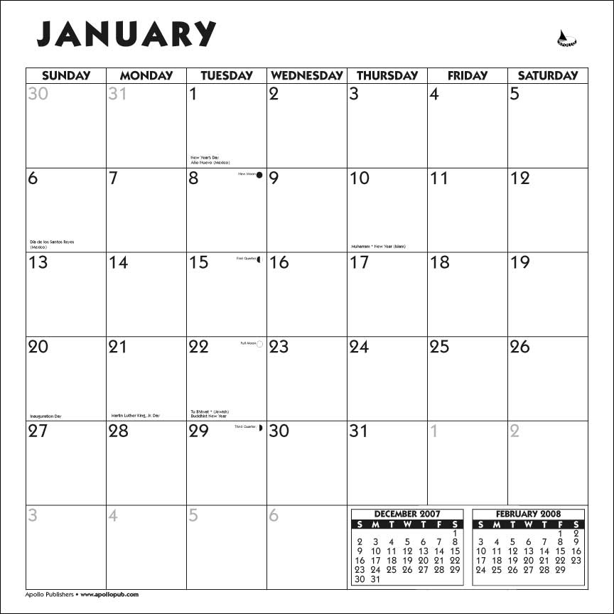 Apollo Publishers Submissions Calendar Template 2021