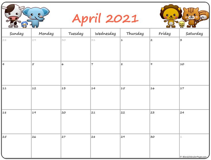 April 2021 Calendar Pdf Word Excel Templates In 2020