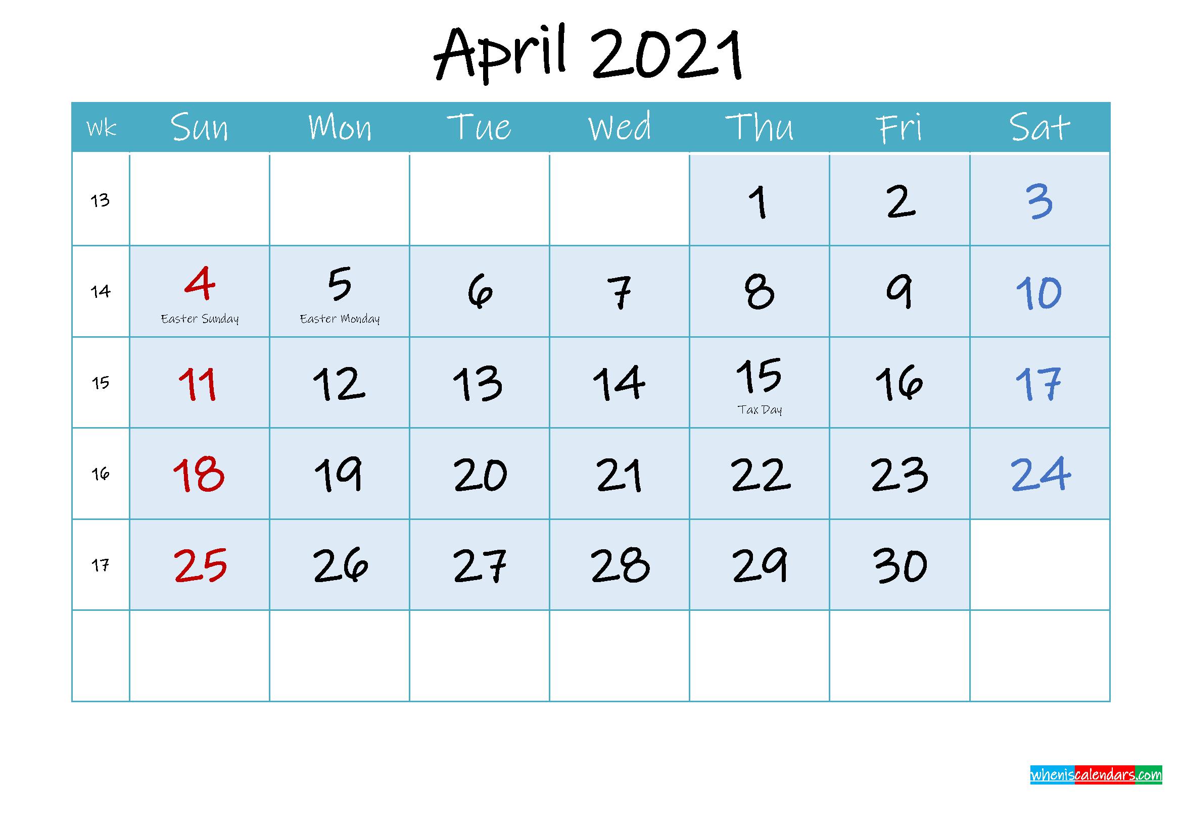 April 2021 Free Printable Calendar With Holidays