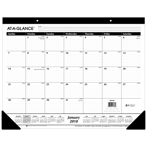 At A Glance 2018 Monthly Wall Calendar January 2018