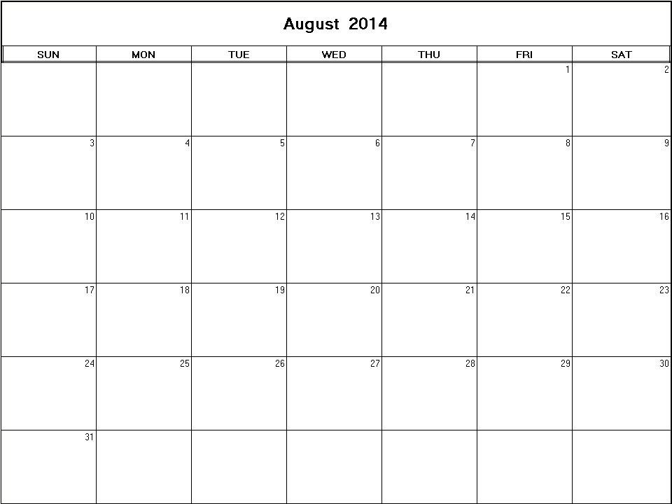 August 2014 Printable Blank Calendar Calendarprintables