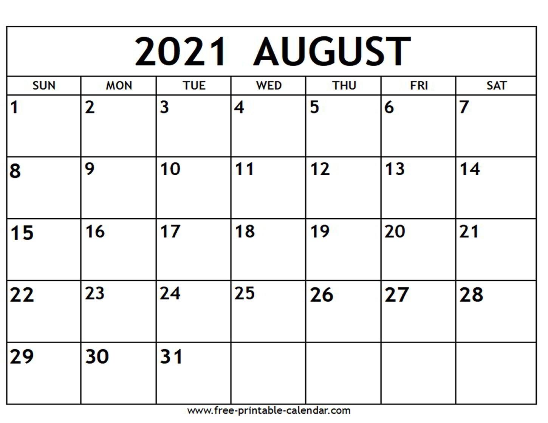 August 2021 Printable Calendars Best Calendar Example