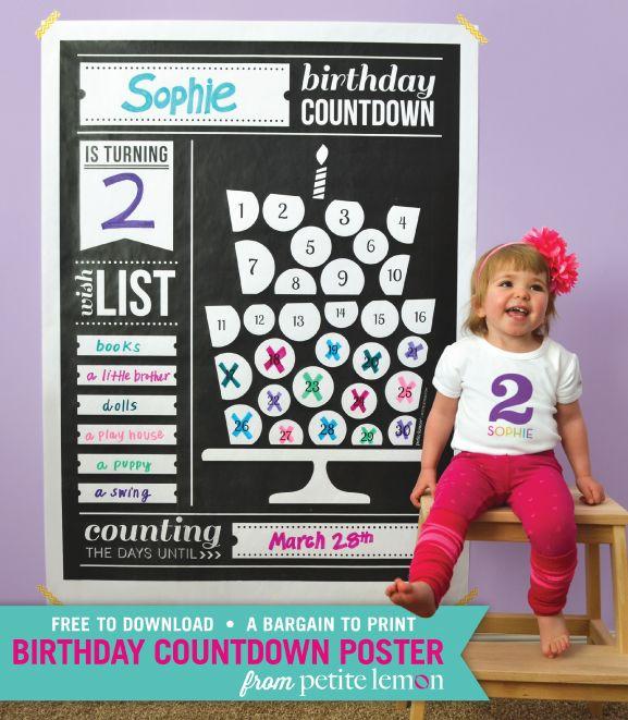 Bdaycountdown Free Printable Birthday Countdown Kids