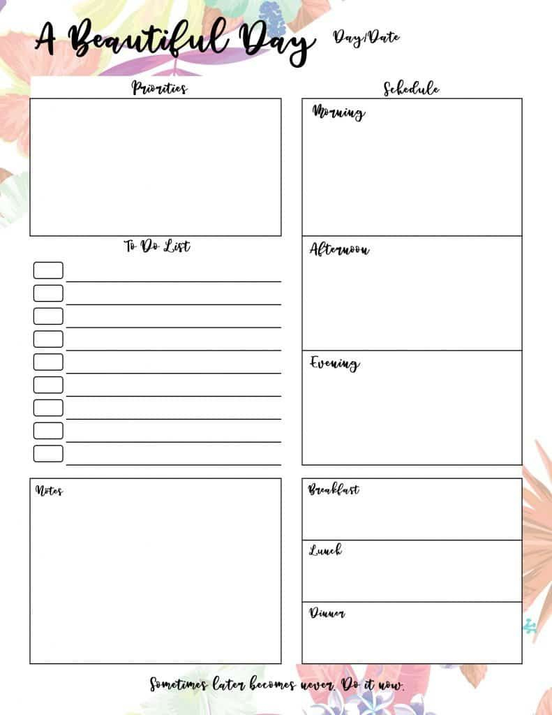 Beautiful Floral Daily Planner Printables With Calendar