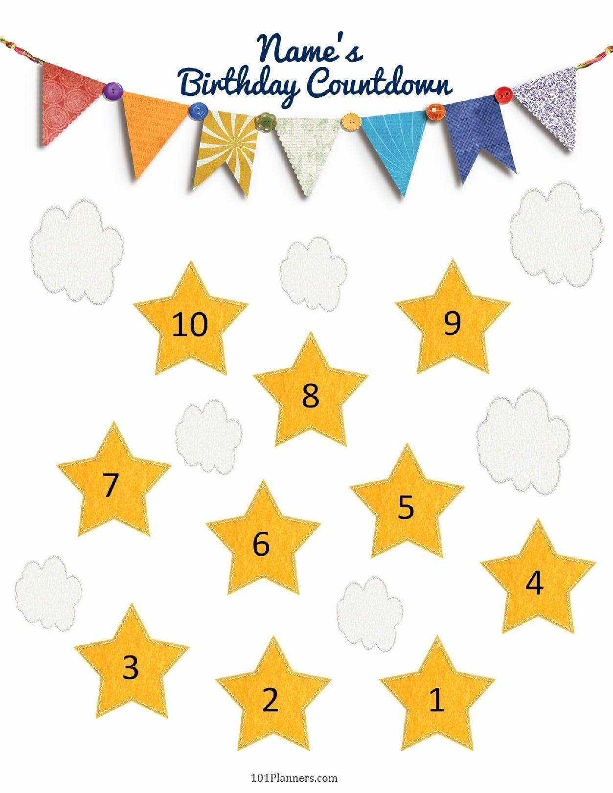Birthday Countdown Print Example Calendar Printable