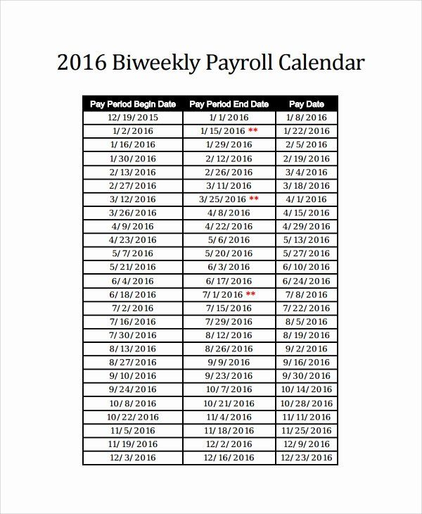 Biweekly Pay Schedule Template Lovely Sample Payroll