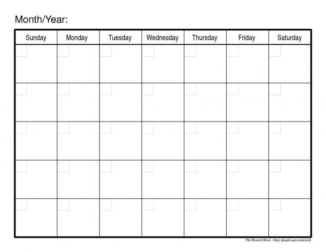 Blank Calendar Pdf Print Monthly Calendar Printable