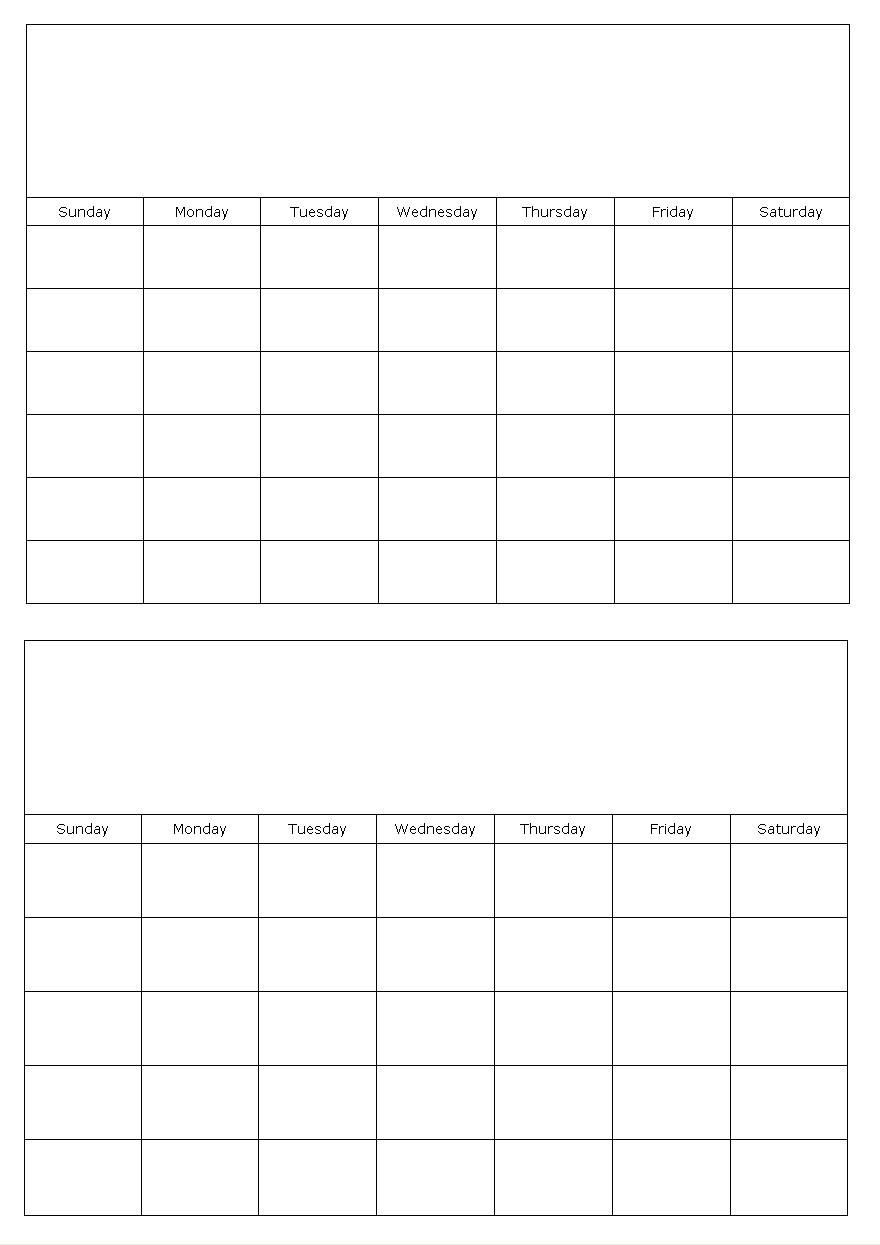 Blank Calendar Template 2 Months Per Page Calendar