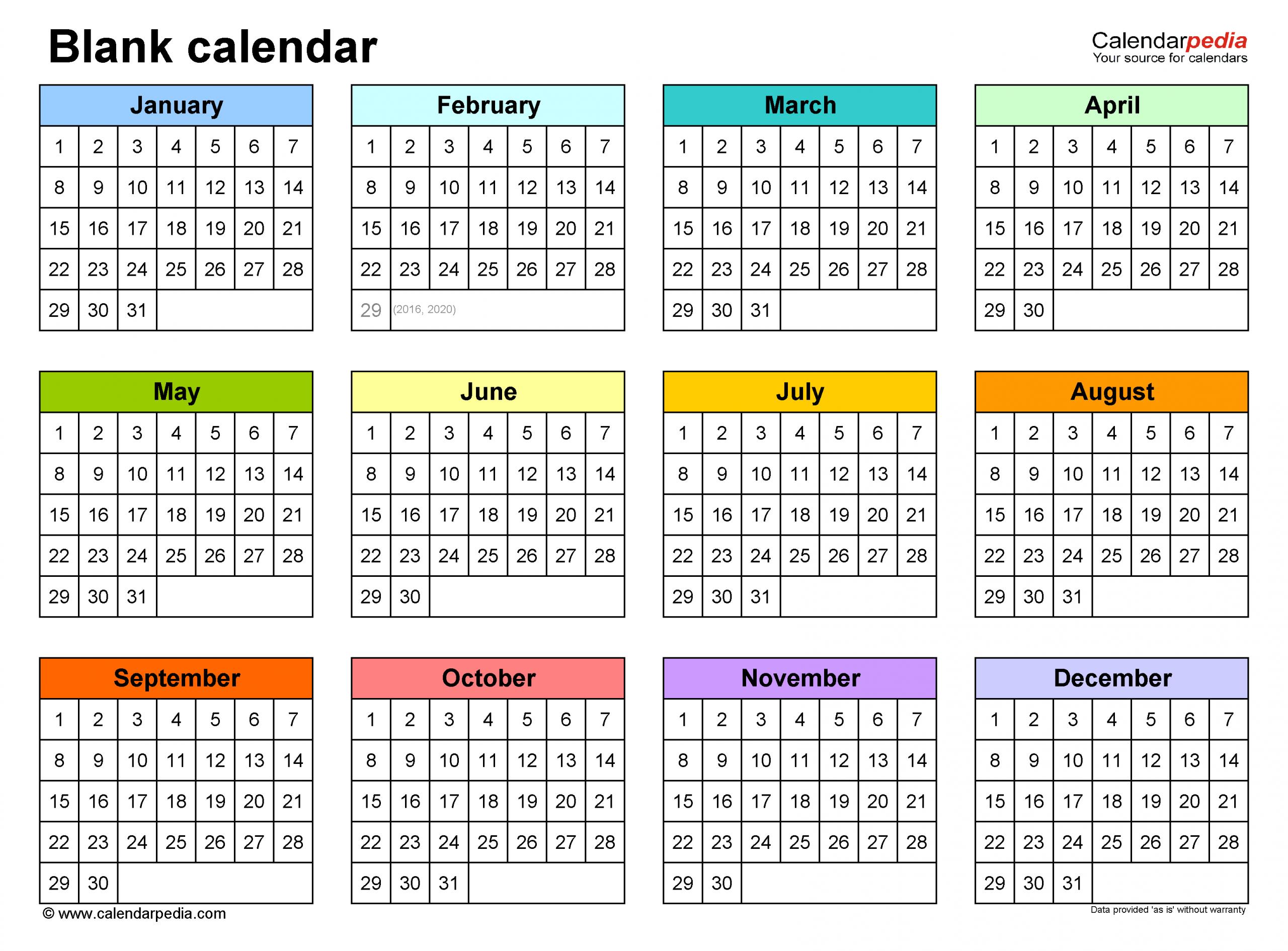 Blank Calendars Free Printable Microsoft Word Templates
