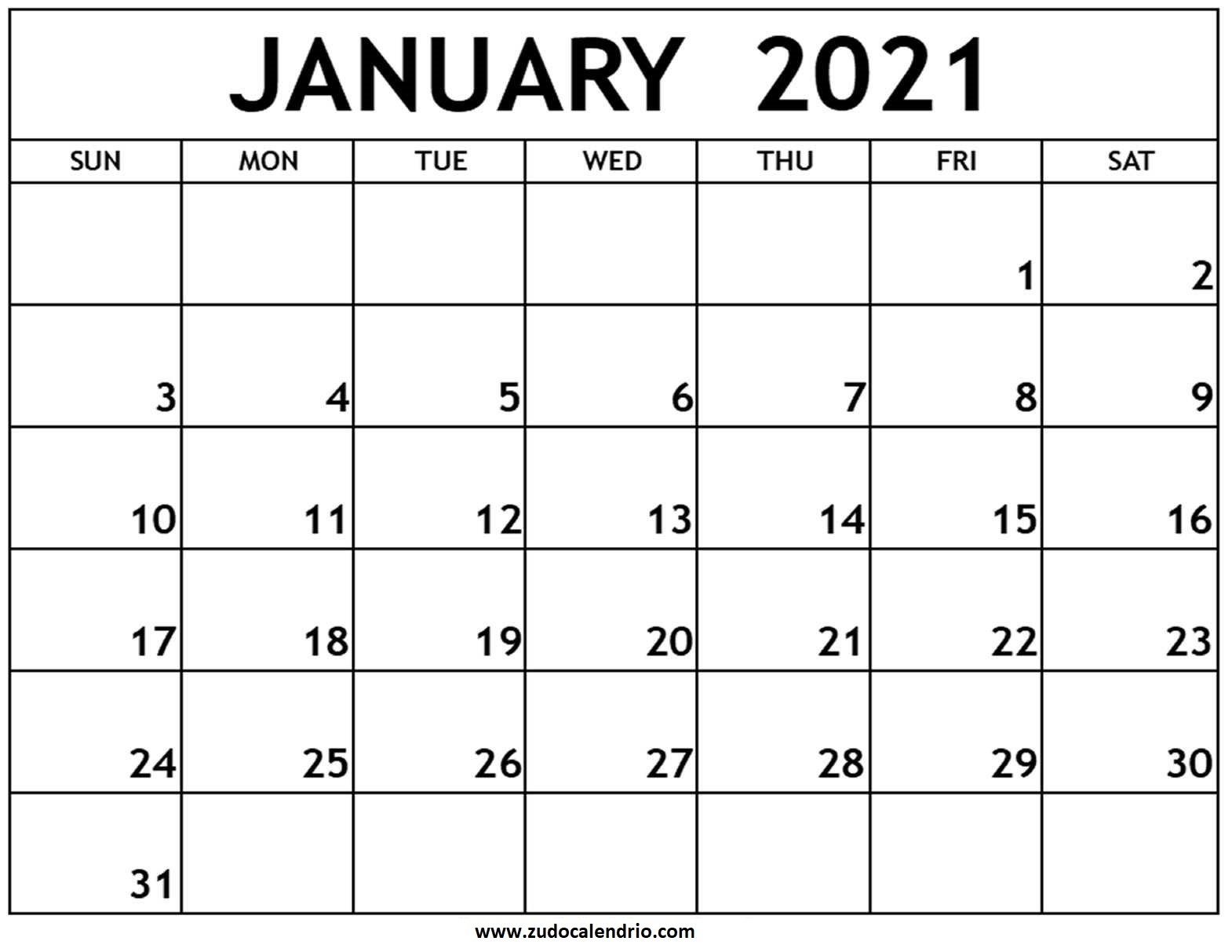 blank january 2021 calendar printable zudocalendrio