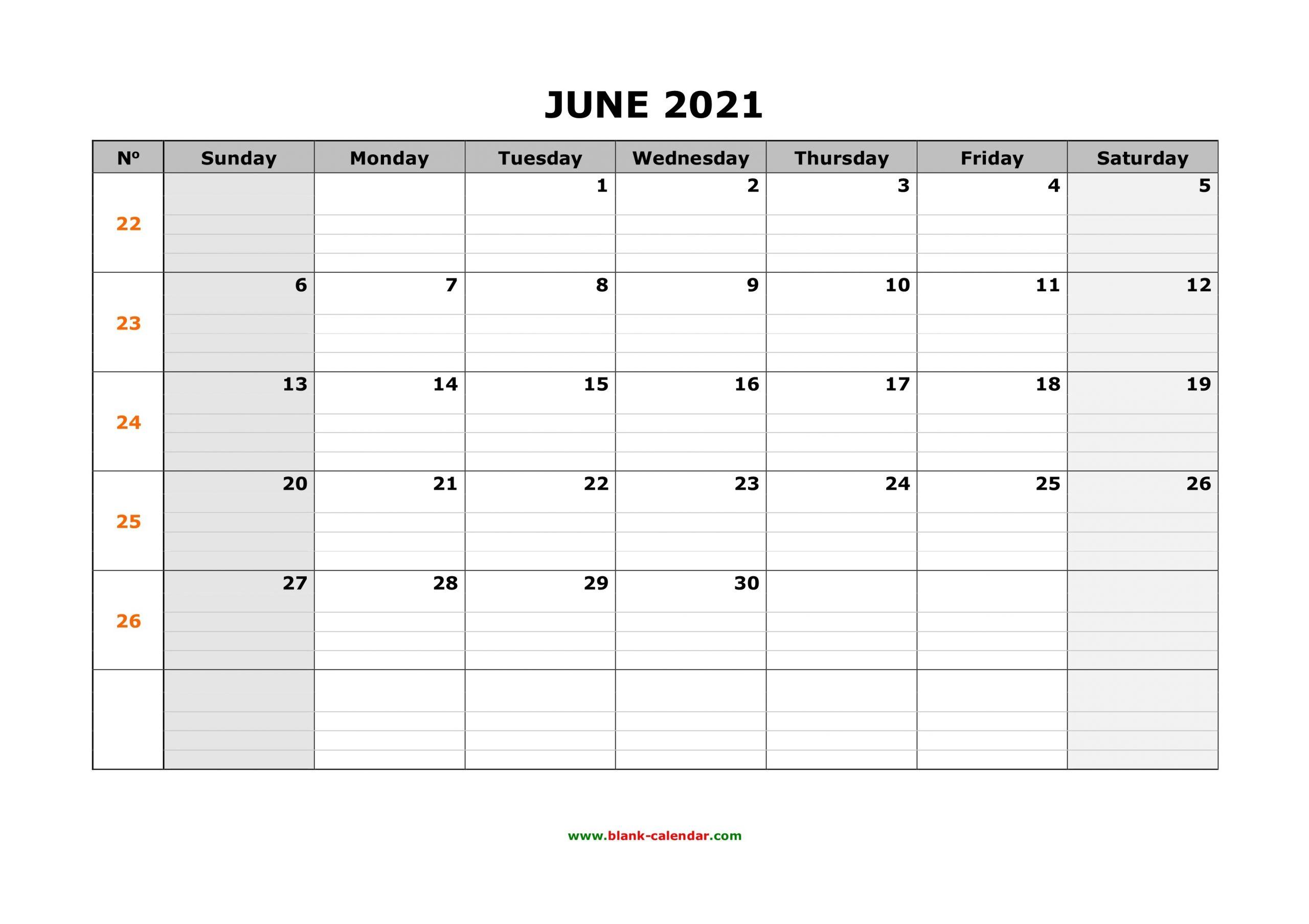 Blank Monthly Calendar 2021 June 2021 With Grid Calendar