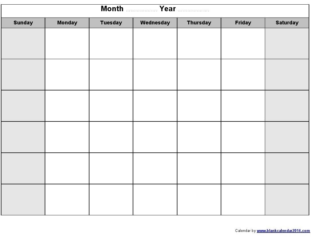 Blank Monthly Calendar Print Out Calendar Inspiration Design
