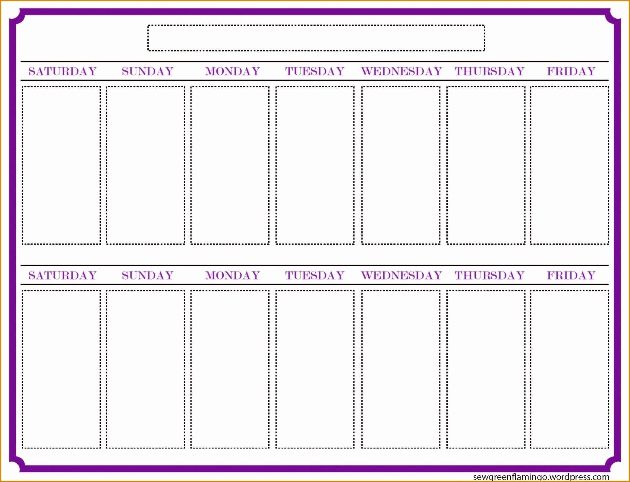 Blank Two Week Calendar Example Calendar Printable