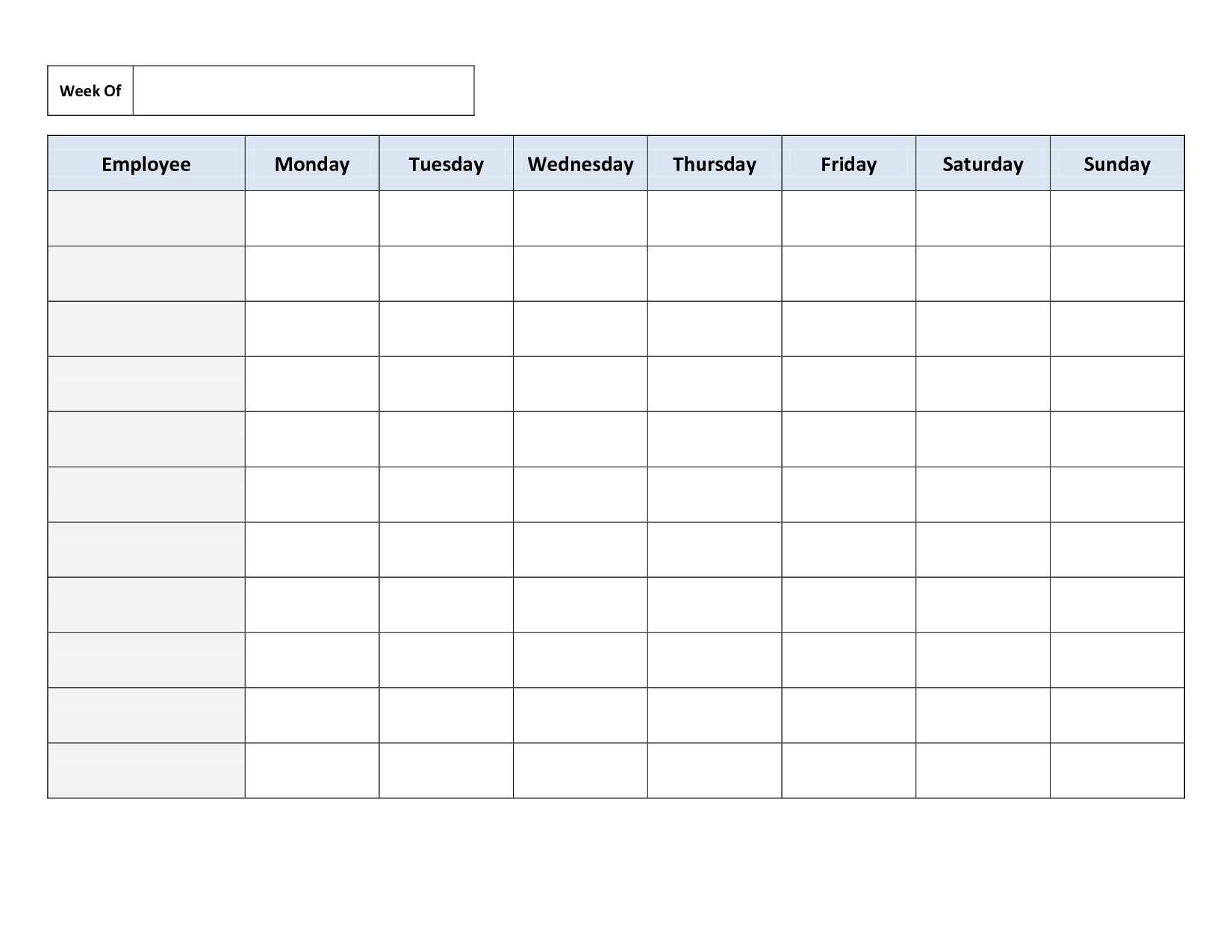 Blank Weekly Work Schedule Template Timetable Template