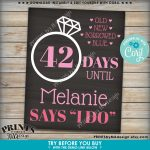 Bridal Shower Countdown Sign Days Until She Says I Do