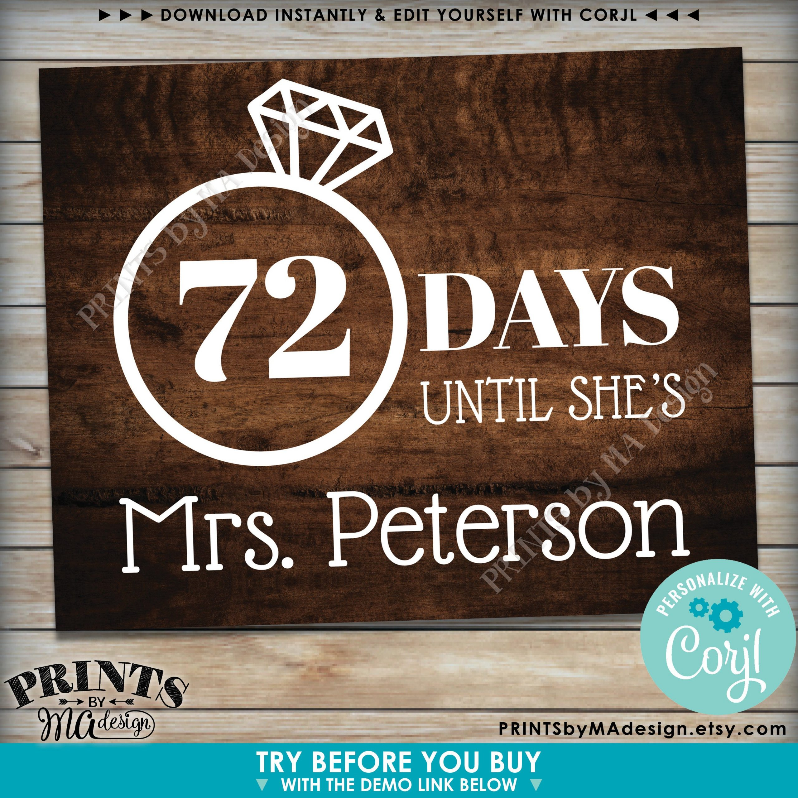 Bridal Shower Countdown Sign Days Until Shes Mrs