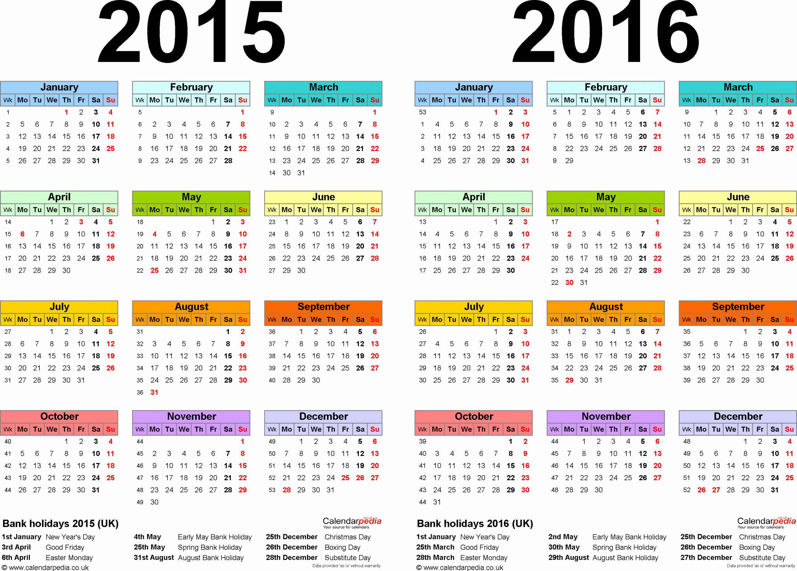Calendar 2016 Template Pdf Beautiful Two Year Calendars