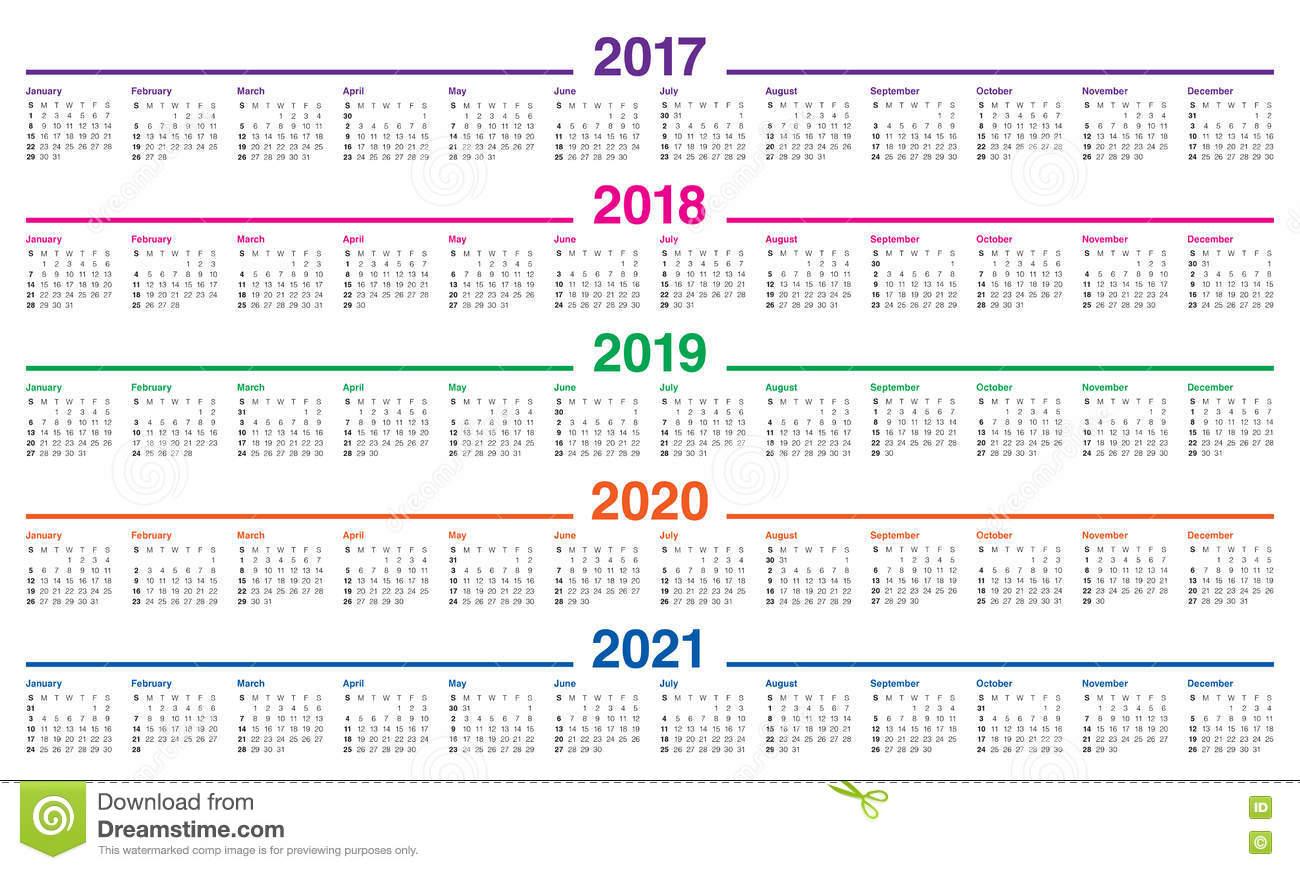 Calendar 2017 2021 Printable Calendars 2021