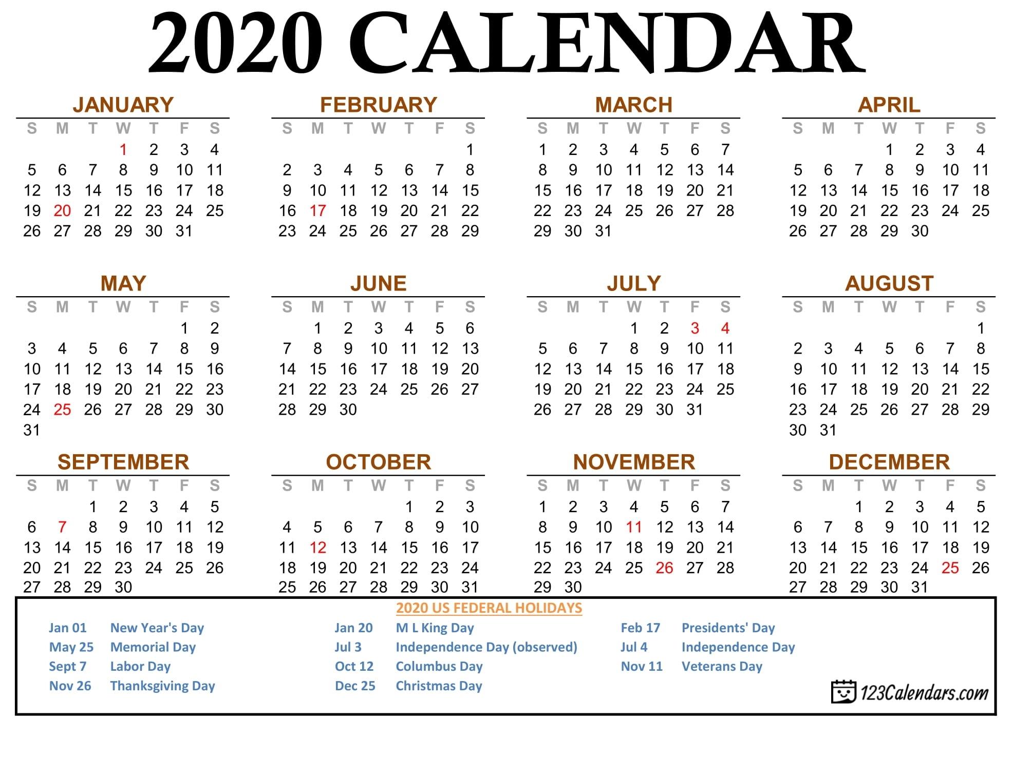 Calendar 2020 Labor Day Month Calendar Printable