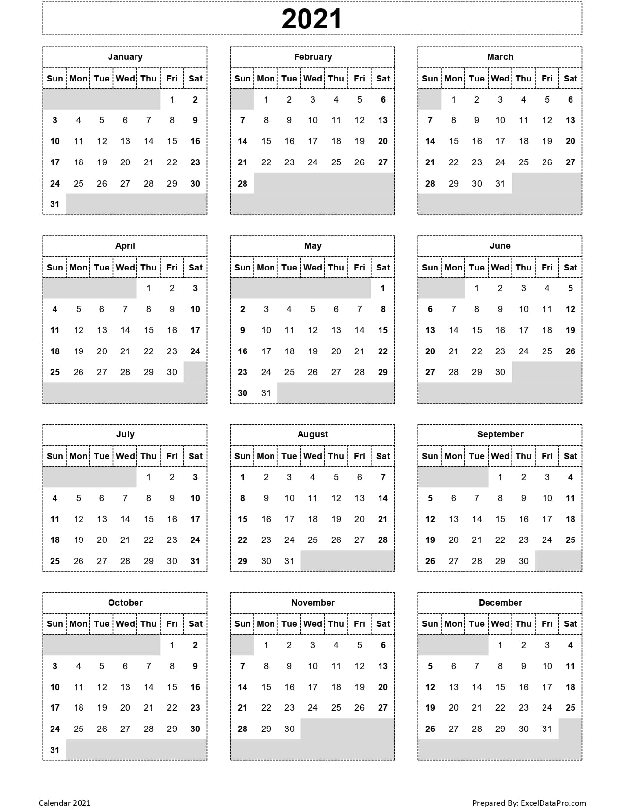 Calendar 2021 Excel Templates Printable Pdfs Images 1