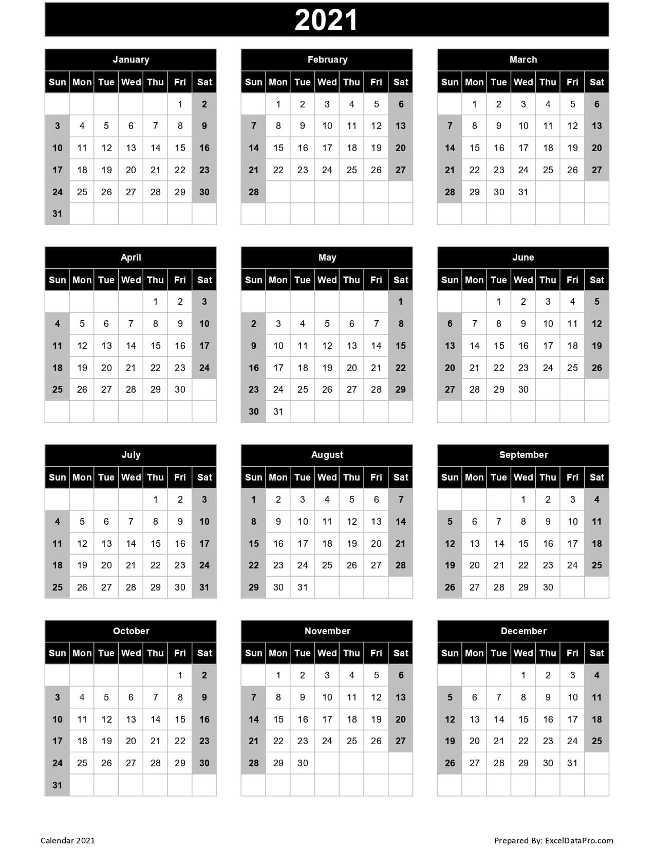 Calendar 2021 Excel Templates Printable Pdfs Images