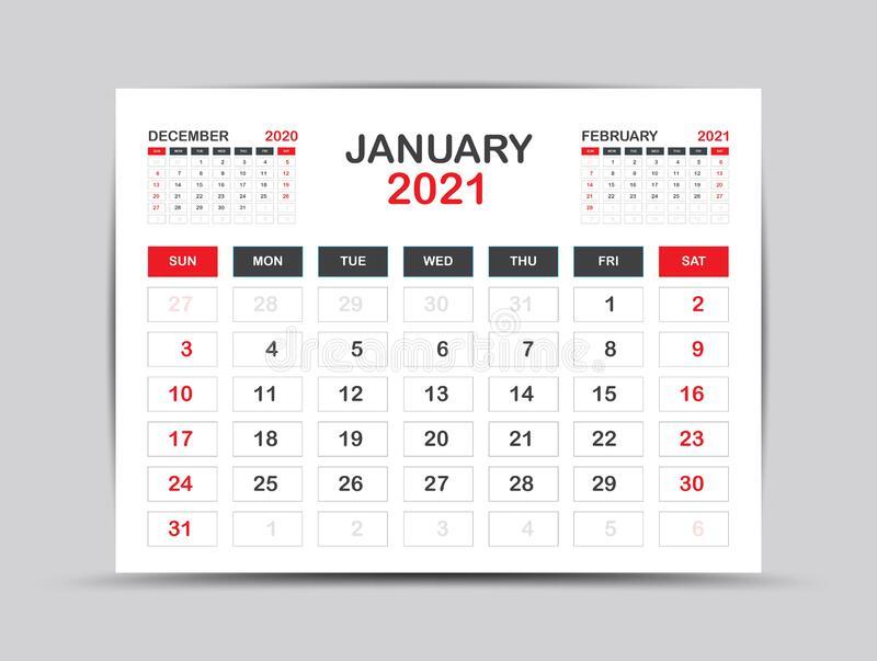 Calendar 2021 Template January Page Vector For Calendar
