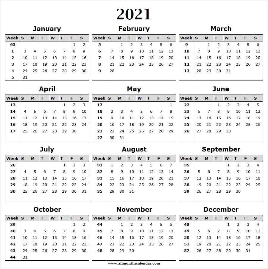 Calendar 2021 Week Wise Full Year Calendar 2021 Year