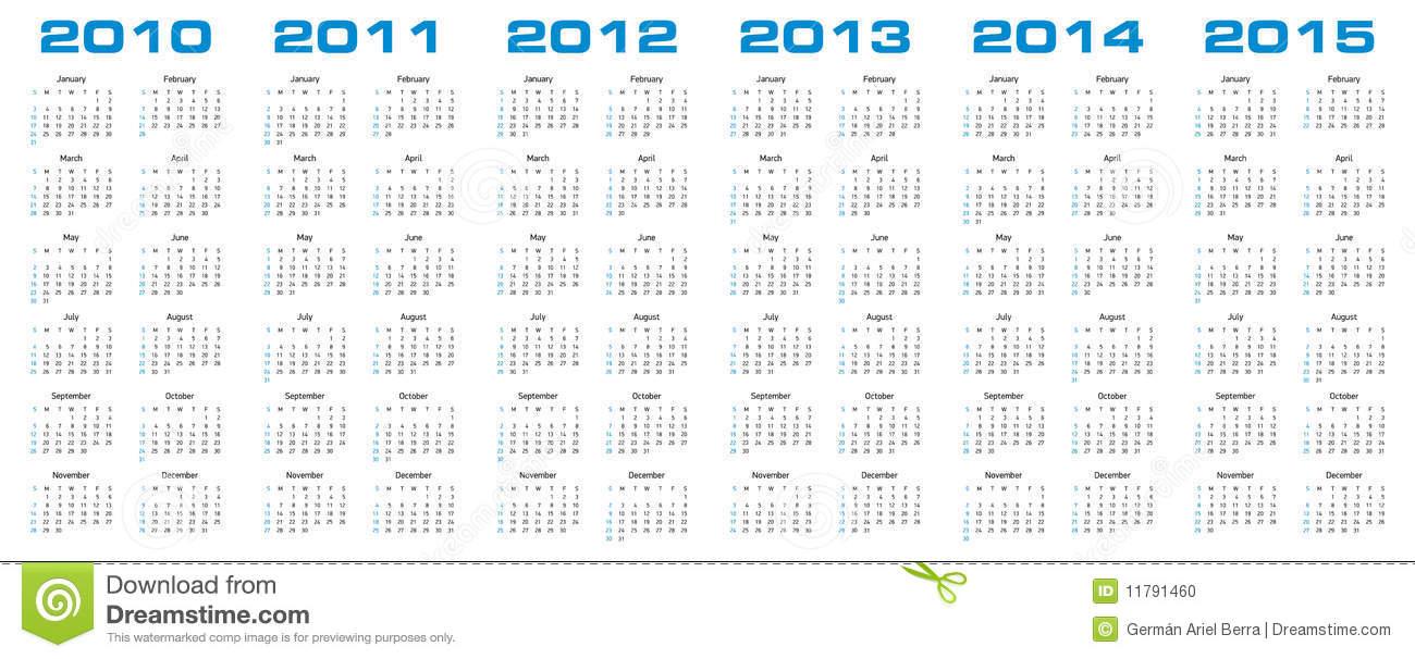 Calendar For 2010 Through 2015 Stock Vector Illustration