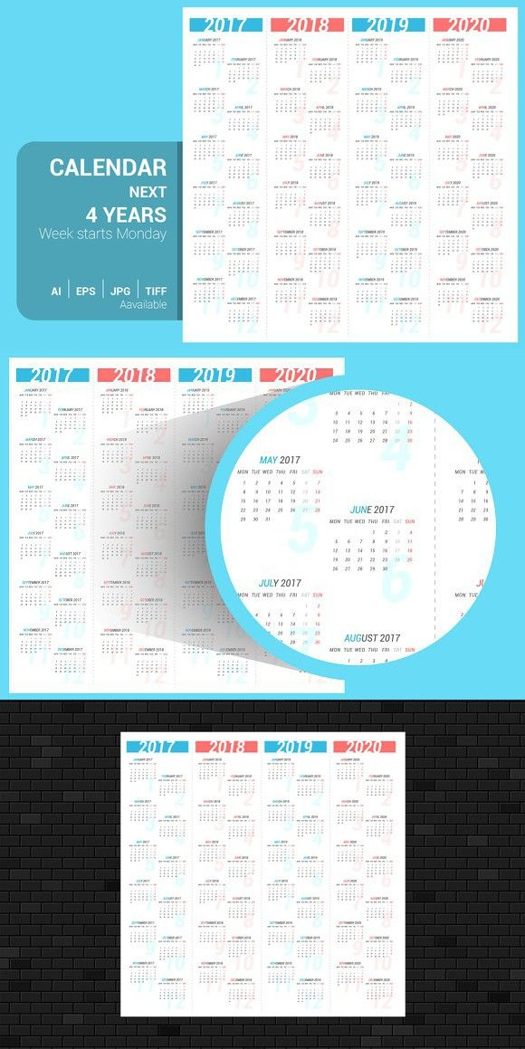 Calendar For Next 4 Years Stationery Templates Calendar Template Calendar