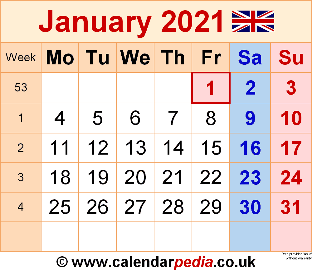 Calendar January 2021 Uk With Excel Word And Pdf Templates