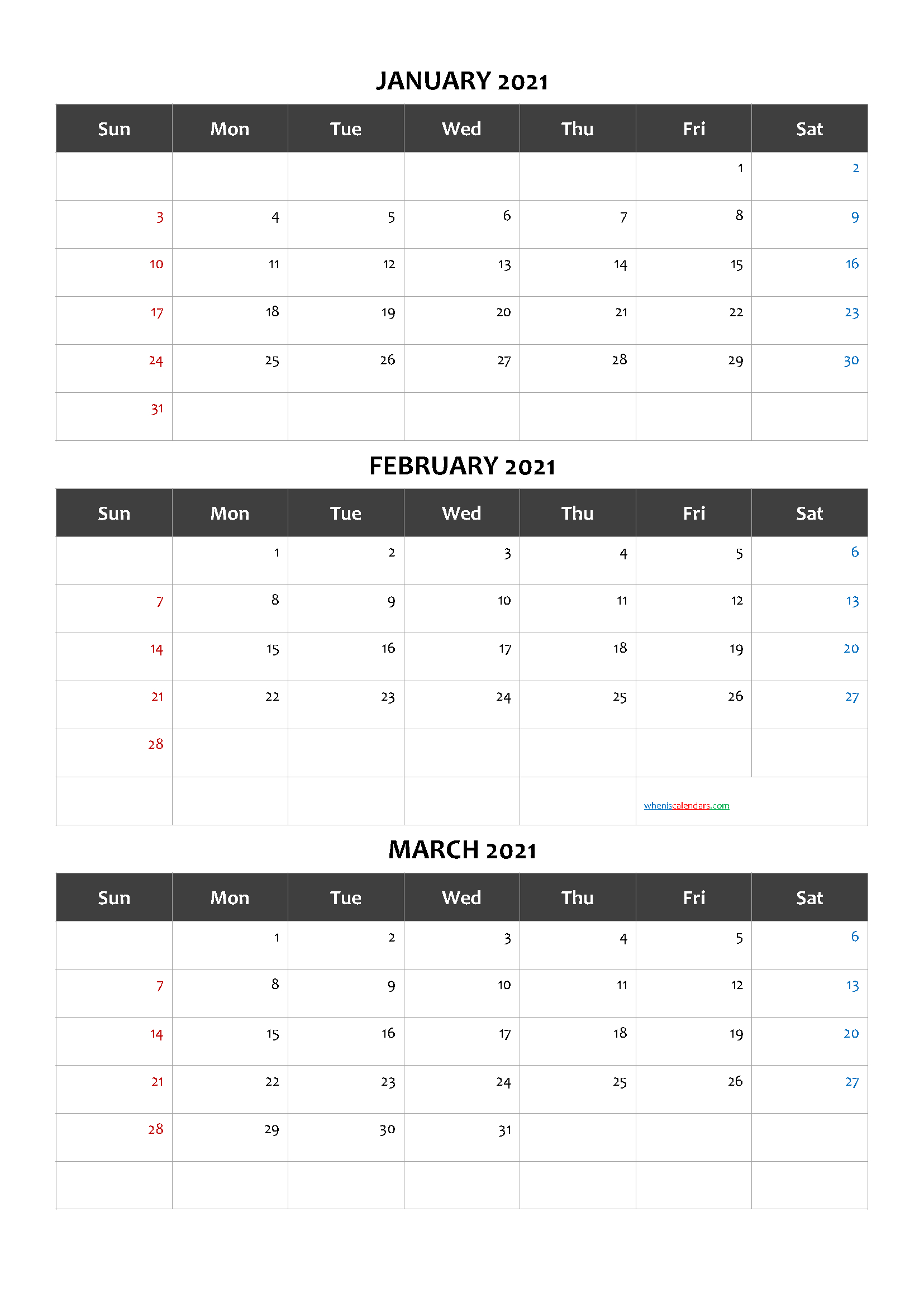 Calendar January February March 2021 Template Code Cand1