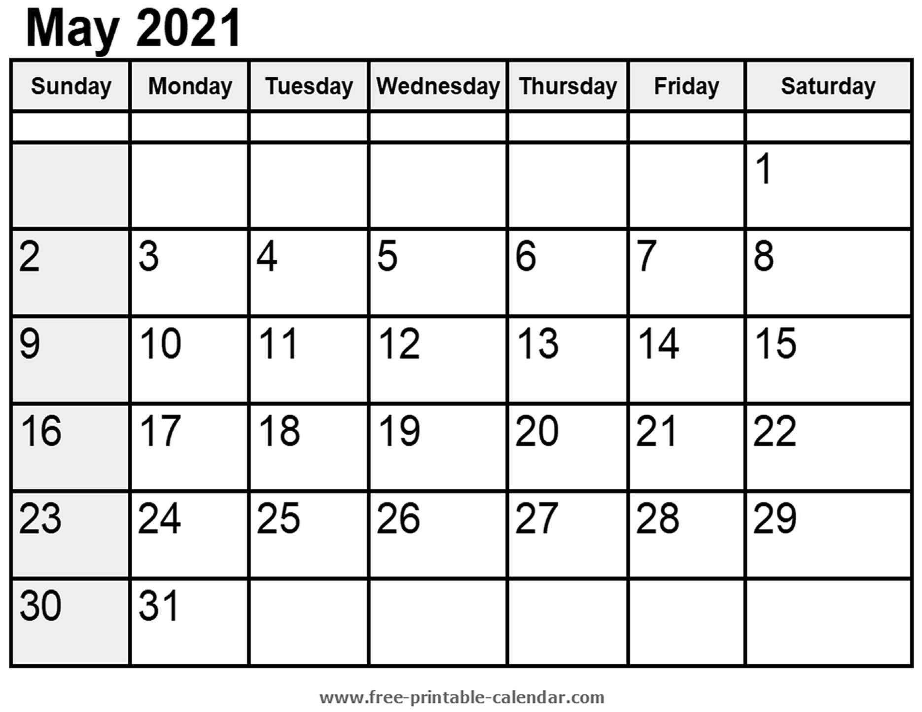 Calendar May 2021 Free Printable Calendar