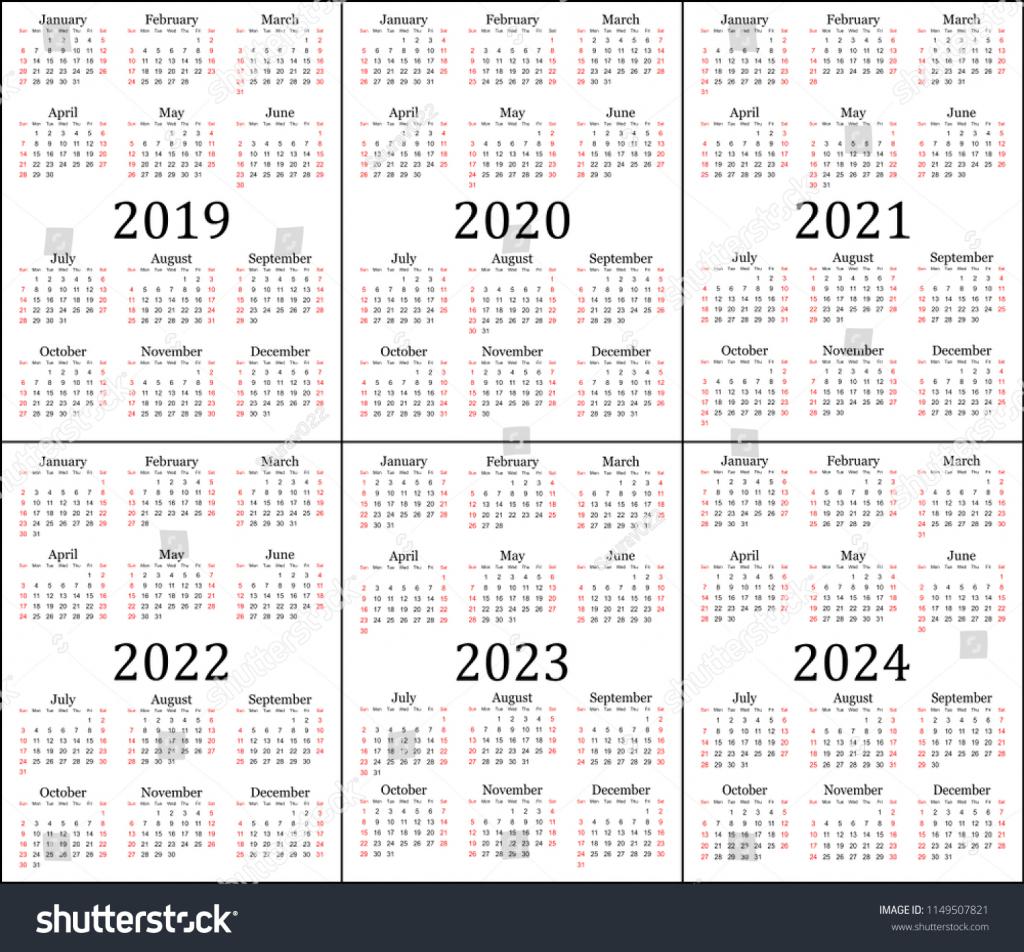Calendar Next Five Years Calendar Template 2020 Calendar 1