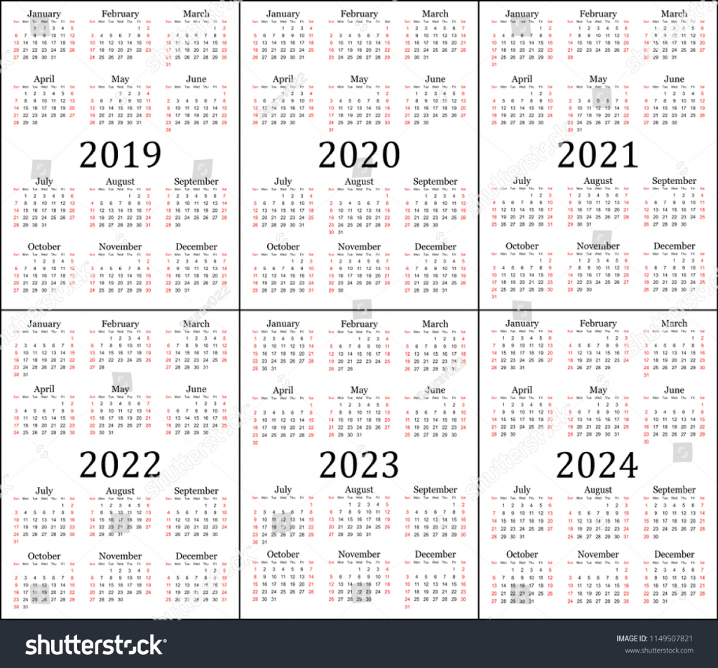 Calendar Next Five Years Calendar Template 2020 Calendar