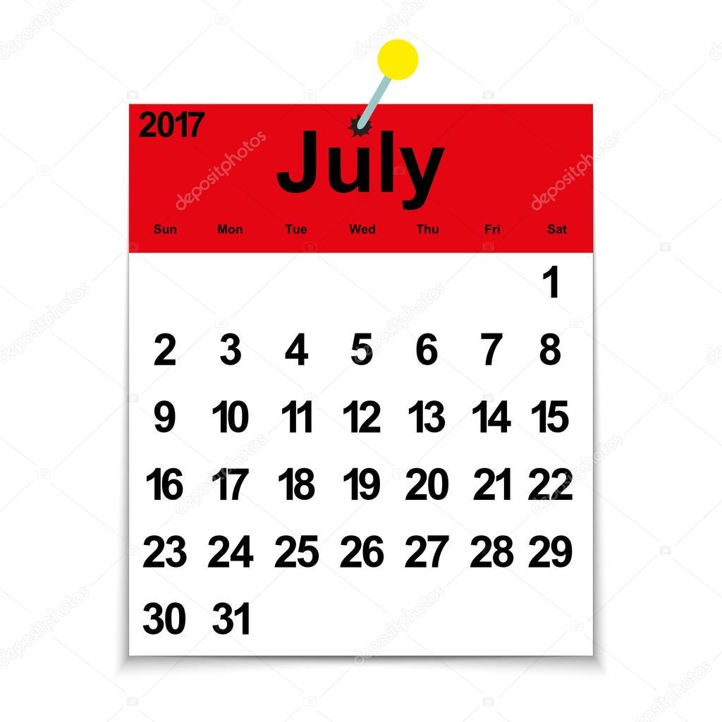 Calendario 2017 De La Hoja Con El Mes De Julio Vector De Stock Pavlentii 126889452