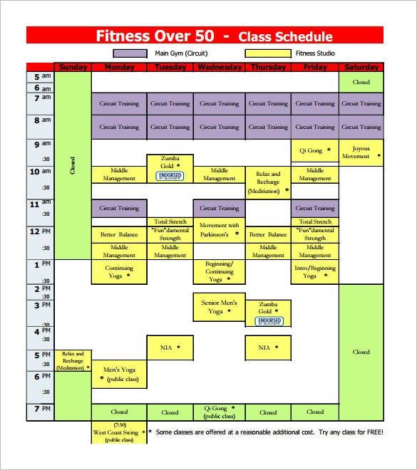 Class Schedule Template 36 Free Word Excel Documents Download Free Premium Templates
