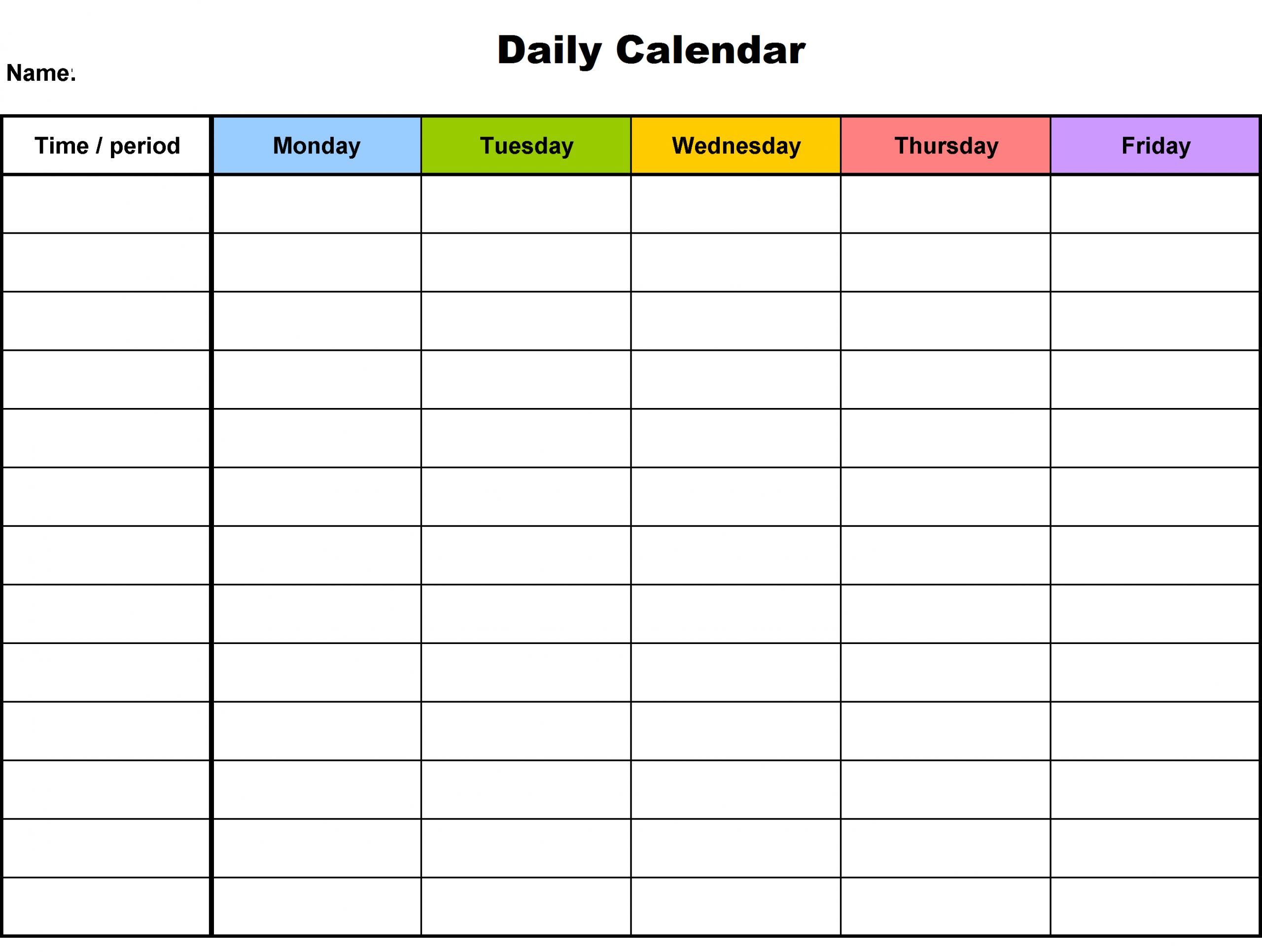 Daily Blank Calendar Template Daily Schedule Template