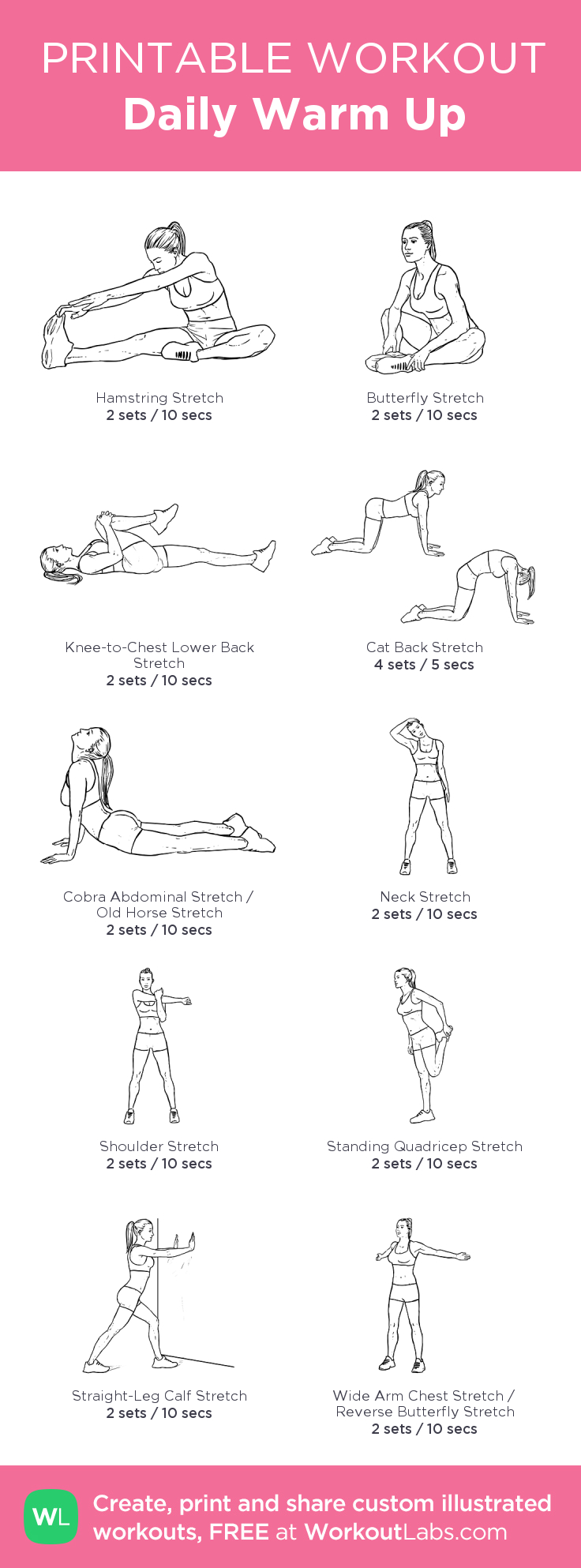 Daily Warm Up My Visual Workout Created At Workoutlabs Click Workout Labs Printable