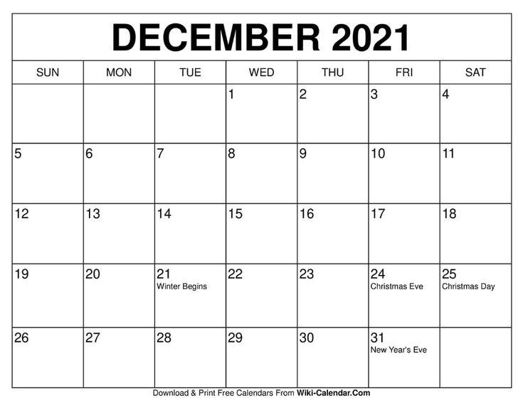 December 2021 Calendar Free Calendars To Print Calendar