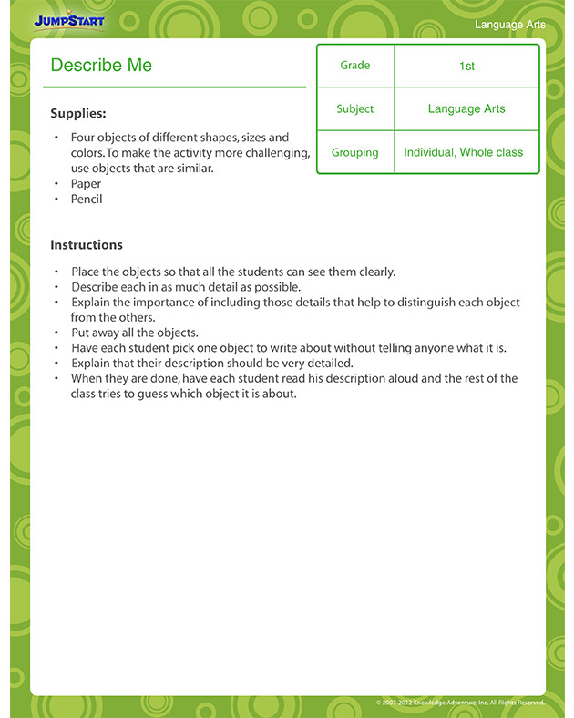 Describe Me View Printable Lesson Plan For 1st Graders