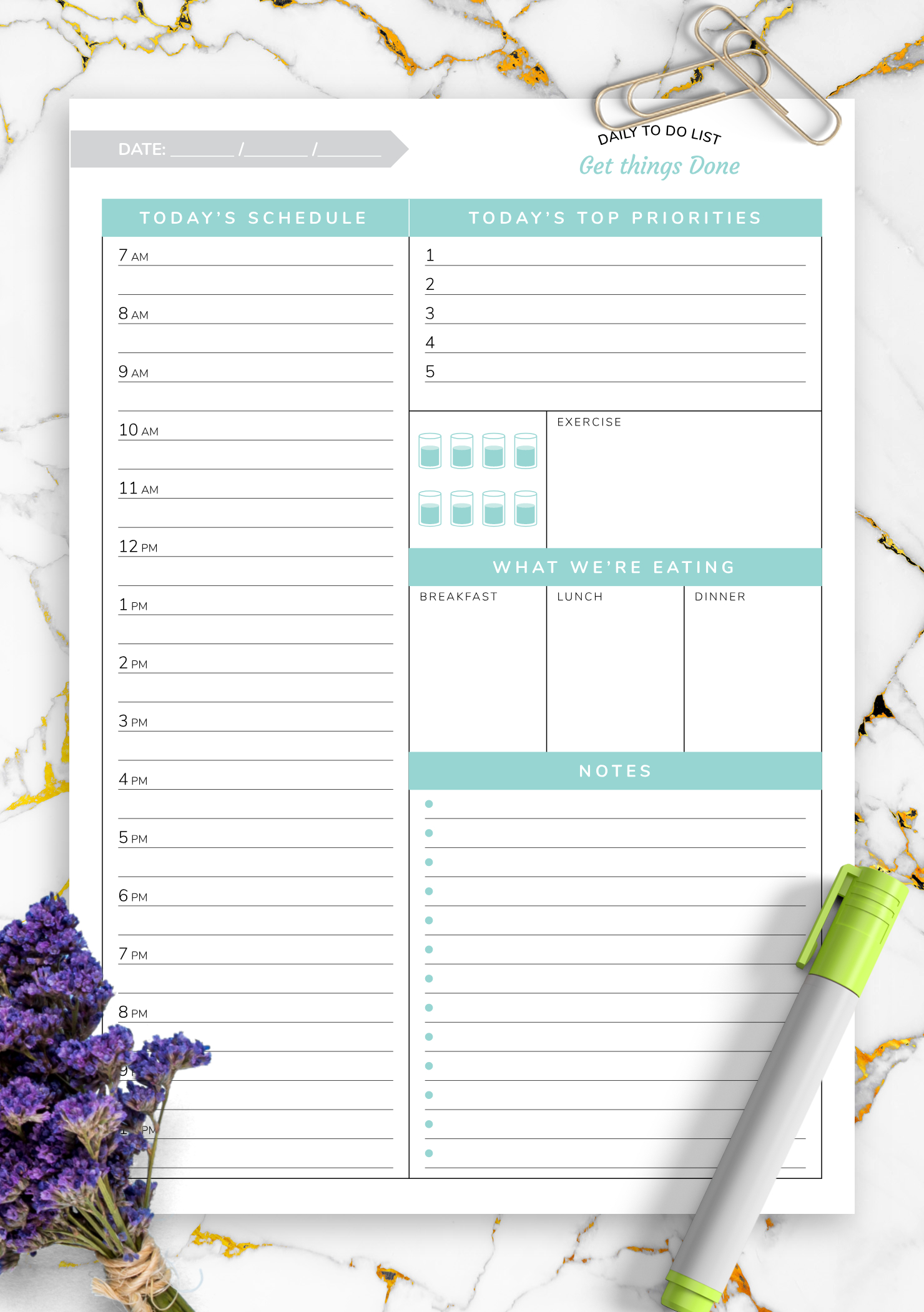 Download Printable Daily Hourly Planner Template Get