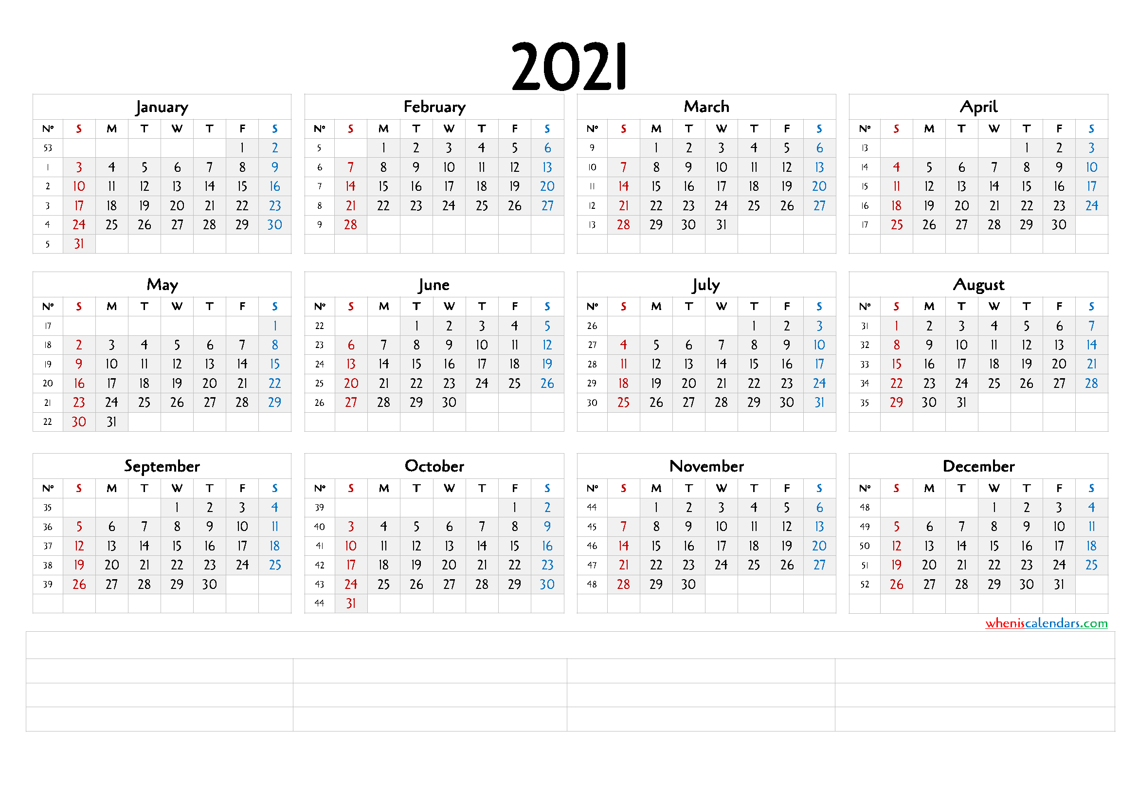 Downloadable 2021 Monthly Calendar 6 Templates Free